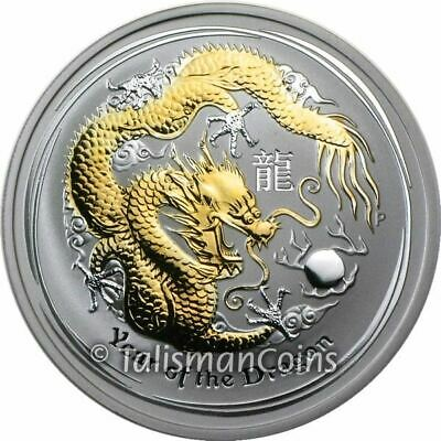Australia 2012 Year Dragon Lunar GILDED $1 1 Ounce Pure Silver in FULL OGP w CoA