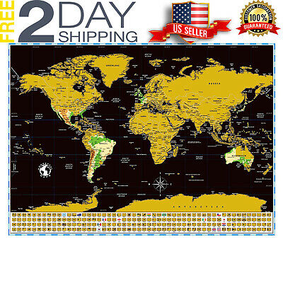 Map Scratch Off World Poster Travel Gift Large States Deluxe Us Flags Country