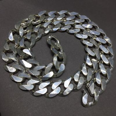 Mens Cuban Tight Curb Link Chain Necklace 15mm 181GR 24 Inch 925 Sterling Silver