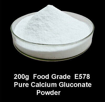 200g   Food Grade Pure Calcium Gluconate  Powder  E578 ,  Vegan, vegetarian