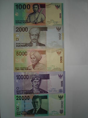 INDONESIA 20000 10000 5000 2000 1000 Rupiah 5 x SUPERB UNC Banknotes ND2010-2014