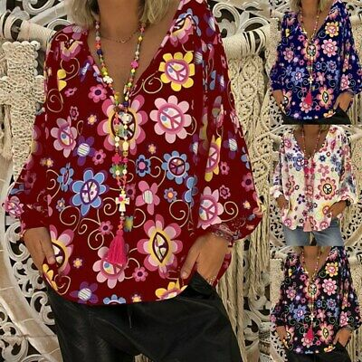 Womens Tops Floral T Shirt Long Sleeve Tee V Neck Summer Plus Size S-5XL Loose