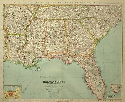 1933 Map United States South Eastern Florida New Orleans Mississippi Arkansas