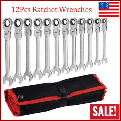 12pcs Professional Flexible Spanners Ratchet Wrench Metric Hand Tool Set 8-19mm
