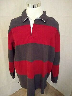 fb2a03f25 LL BEAN RUGBY Shirt Mens XL Red Gray Striped Thick Long Sleeve ...