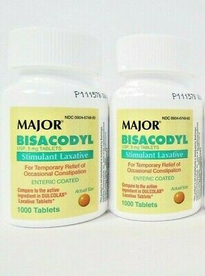 Major Bisacodyl 5 mg EC (Compare to Dulcolax) 1000ct -2 Pack -Exp Date 08-2020