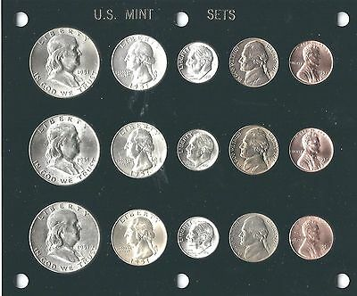 1951 P-D-S US  Mint set-15 coins- Brilliant Uncirculated in Black Capital holder