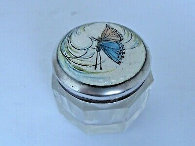 Antique Silver & Guilloche Enamel Sachet Jar with a Butterfly