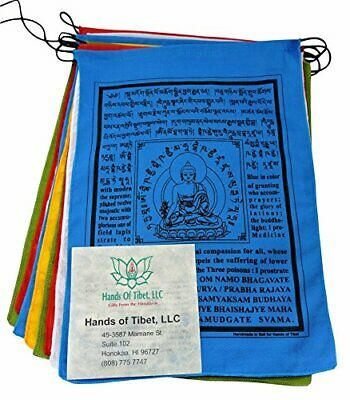 Large Cotton Medicine Buddha Prayer flags Tibetan with English Translation
