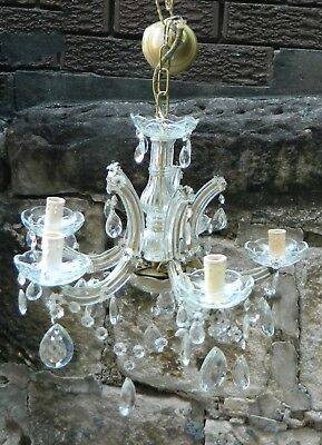 Vintage Antique Retro Glamour 5 arm Glass Chandelier