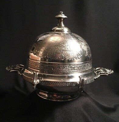Antique Middletown Quadruple Plate Domed Hard White Metal Butter Dish