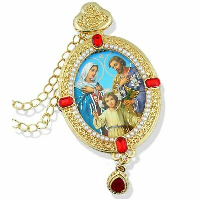 Holy Family Icon Pendant W Pearls Chain & Gift box