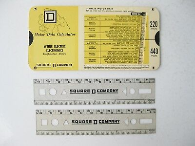 Vintage 1966 Square D Motor Data Calculator 2 Six Inch Ruler Templates