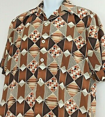 Vintage 70s Abstract Geometric D'Avila Large Button Front Silky Shirt Short