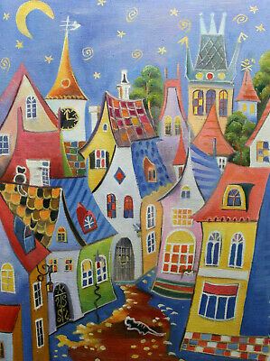 Modern Hand Painted Cityscape Prague Oil painting Wall art Decor On Canvas prg69