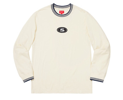 41d223d110 Supreme Striped Rib Logo L/S Long Sleeve Top Size Large Natural FW18 New  2018