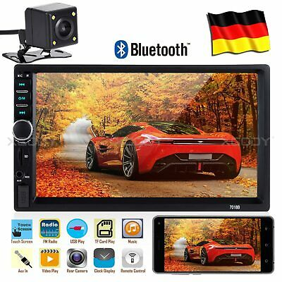 "Doppel 2 DIN 7"" Autoradio Stereo Touchscreen Bluetooth MP5 USB AUX TF + Kamera"