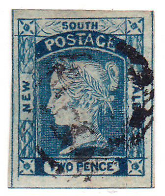 NSW 1851 LAUREATE ISSUE 2d BLUE & GOOD MARGINS