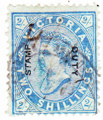 Victoria : 1885 Stamp Duty Overprint 2/- Blue Cv$125