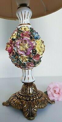 Vintage Solid Cast Brass & Ceramic Table Lamp Great Condition Beautiful Colours