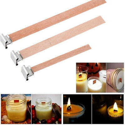 10/20Pcs Wooden Wick Candle Core & Sustainer Tabs For Candle Making DIY 5 Size