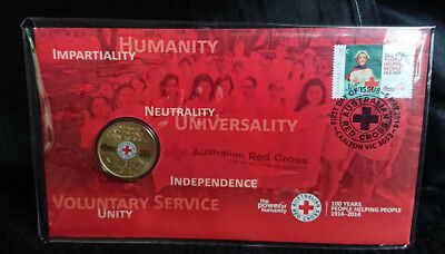2014 One Dollar - Pnc - *australian Red Cross* - *coloured Coin* - Uncirculated