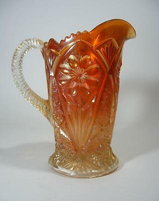 Art Deco Depression Imperial Carnival Glass Field Flowers Water Jug Pitcher
