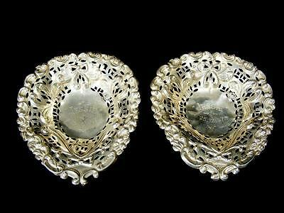 Antique 1896 Pair Pierced Birmingham Sterling Silver Pin / Trinket Dishes