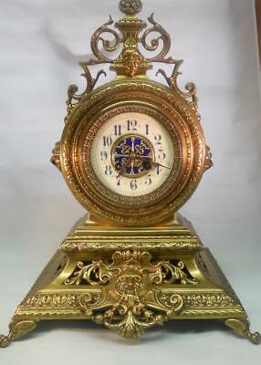 Solid Brass Antique 8 Day French Strike Mantel Clock
