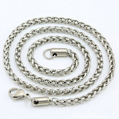 "28"" 5mm Men's Women's 316L Stainless Steel Necklace Chain Silver N1V11B"