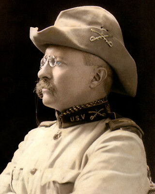 """THEODORE """"TEDDY"""" ROOSEVELT 26th US PRESIDENT 8x10"""" HAND COLOR TINTED PHOTO"""