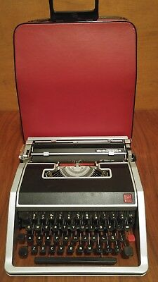 Vintage 1966 Olivetti Lettera DL Typewriter w/ Red Case - Made in Italy Working