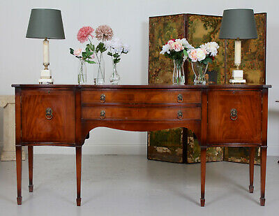 Large Serpentine Sideboard Credenza Flamed Mahogany