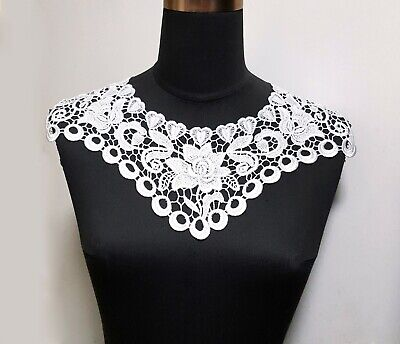 1 pc White Polyester Crochet Neckline Collar Motif Appliques Sew on A184