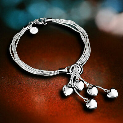 Fashion 925 Silver Heart Bracelet Bangle Women Costume Jewellery Hand Chain Gift
