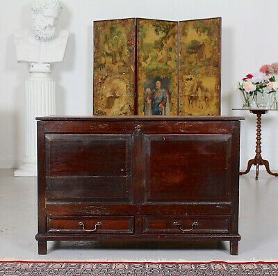 Antique 18th Century George III Oak Mule Chest Storage Coffer Fitted Drawers