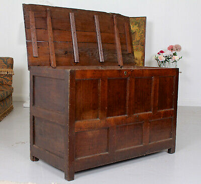 Giant Antique 18th Century George II Oak Storage Chest Coffer
