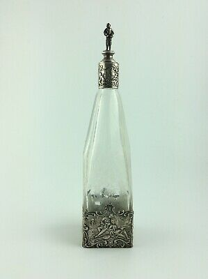 Antique German cut etched glass 800 silver mounted decanter