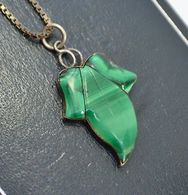 """Antique Victorian Solid Silver & Green Malacite IVY LEAF Pendant on 17"""" Chain"""