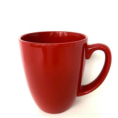 Set of 4 CORELLE Stoneware Coffee Mugs RED matches Berries and Leaves & MORE!