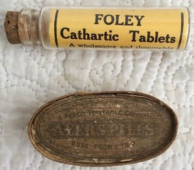 Vintage ca.1880's J. C. Ayer's Lowell Ma Cathartic Pills Empty with Foley Bottle