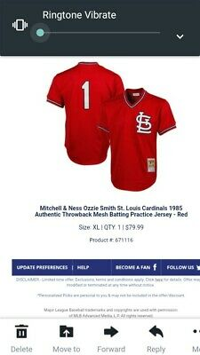 5a648c01e St. Louis Cardinals Ozzie Smith Red Cooperstown Mesh Batting Practice Jersey