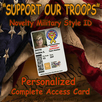 """""""Support Our Troops"""" Novelty Military CAC Style Personalized Novelty ID Card!!"""