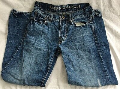 American Eagle Men's/Boys Distressed Whiskered Faded Denim Blue Jeans Size 26/28