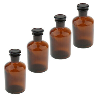 4pcs 250ml Glass Amber Lab Reagent Bottle Narrow Mouth With Stopper