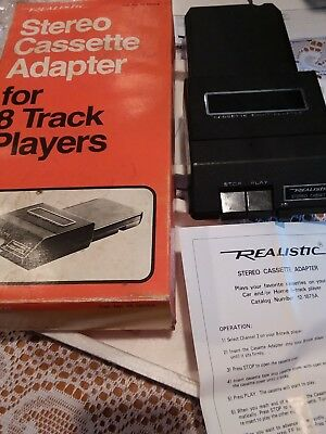 Realistic Stereo Cassette Adapter for 8-Track Players Box & Manual Radio Shack