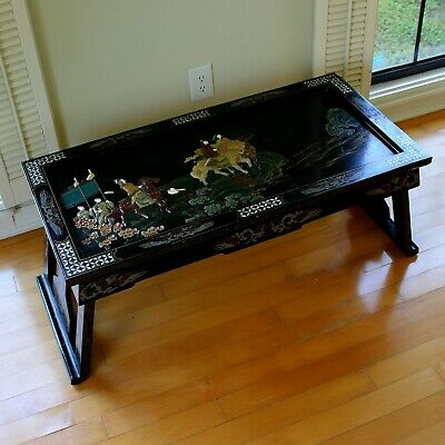 Old Tianjin Chinese Carved Inlaid Coromandel Lacquer Folding Table