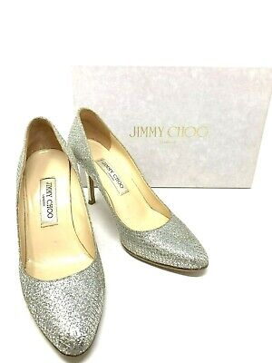 914d91c979 Authentic JIMMY CHOO Glitter Pumps Silver Size 39 US9 Rank AB with Box