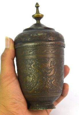 Real Mughal Rare Old Unique Shape Hand Crafted Animal Figures Brass Pot G3-52 US