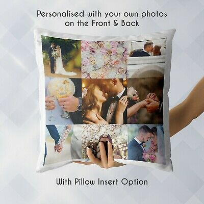Personalised Cushion | Custom Gift with 9 Photos | Pillow Case Cover & Insert